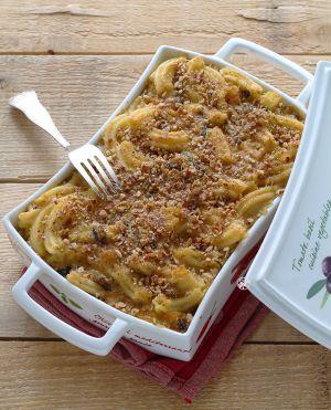 Recette Gratin de pâtes avec potiron et champignons, sans gluten