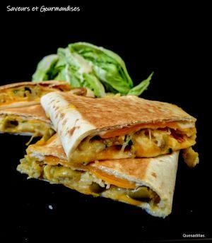 Recette Quesadillas garnies de purée, fromages et citron confit