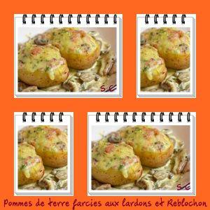 Recette Pommes de terre farcies au Reblochon et petits lardons, champignons à la crème