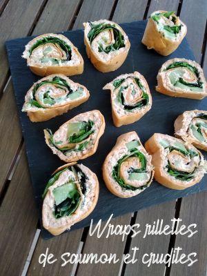 Recette Wraps rillettes de saumon et crudites