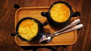 Recette Petits chaudrons de soupe citrouille - fromage