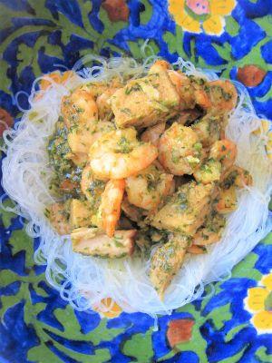 Recette Porc caramélisé & crevettes au vermicelle de soja