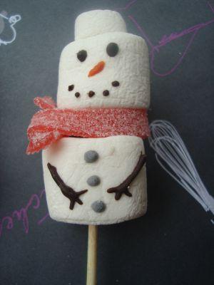 Recette Brochette de bonhomme de neige en chamallows