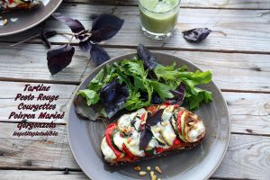 Recette Tartine gourmande courgettes, poivrons et gorgonzola