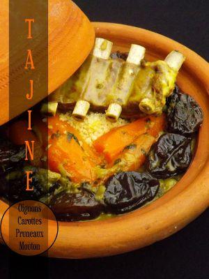 Recette Tajine de moutons aux oignons caramélisés, carottes et pruneaux