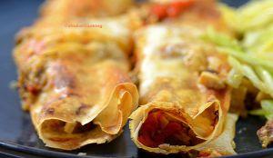 Recette Boreck au poulet, aubergine et poivrons grillés