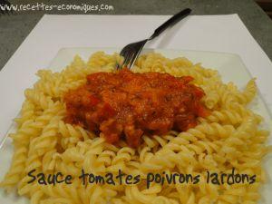 Recette Pâtes sauce poivrons tomates lardons
