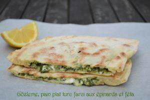 Recette Gözleme, pain plat turc farci aux épinards et féta
