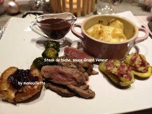 Recette Steak de biche, sauce grand Veneur