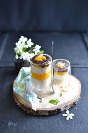 Recette Verrines de perles du Japon, mangue caramélisée, nappage chocolat
