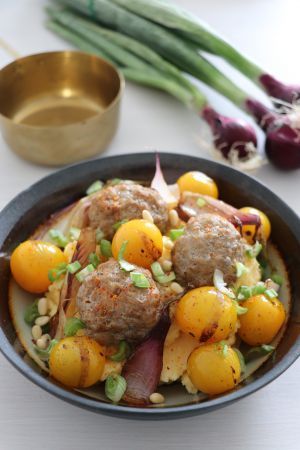 Recette Polenta crémeuse, boulettes de veau et légumes