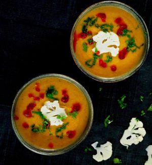 Recette Soupe de chou-fleur à la  sauce harissa