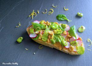 Recette Tartine de houmous de lentille corail et radis rose