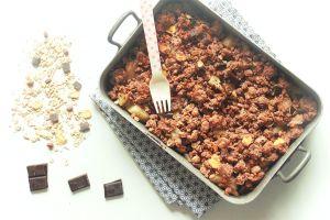 Recette Crumble poires et chocolat au muesli