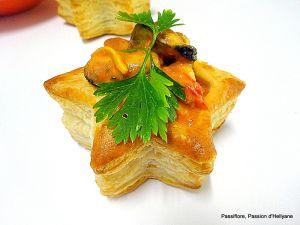 Recette Bouchée ou Vol-au-vent aux moules en sauce tomate piquante