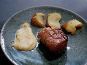 Recette [Saveurs d'automne…] Filet de canette grillé, pomme et crème de coing