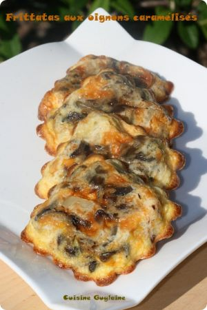 Recette Frittatas aux oignons caramélisés, au chorizo et aux pommes de terre