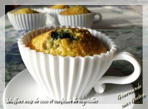 Recette Muffins à la noix de coco et confiture de myrtilles