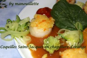 Recette Coquilles Saint-Jacques en chapelure d'orange