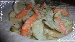 Recette Pâtes sauce courgette et crevettes  au citron