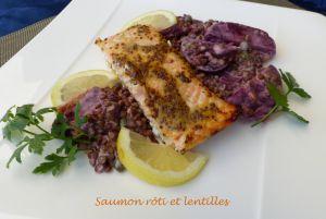 Recette Saumon rôti et lentilles