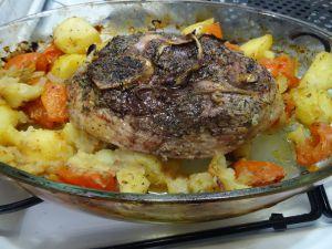 Recette Rouelle de porc à la moutarde et au thym