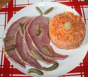 Recette Langue de porc au vinaigre et riz au ketchup