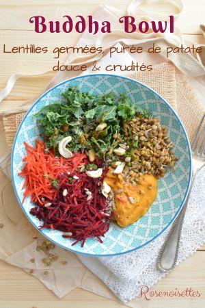 Recette Buddha Bowl aux lentilles germées, purée de patate douce et crudités (végan)