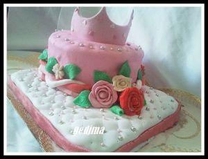 Recette Gâteau de fille à la pâte à sucre