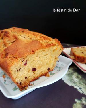Recette Cake à l'épeautre , Cranberrys et Chocolat Blanc