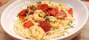 Recette Pâtes au chorizo et aux crevettes