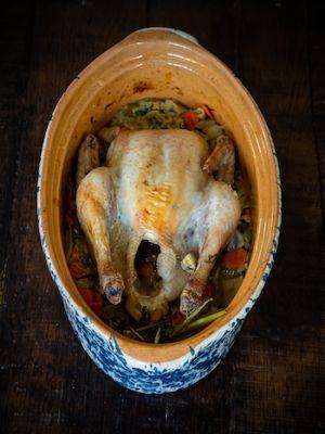 Recette Poulet cuit en baeckeoffe avec sa garniture de légumes