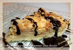 Recette Tarte crumble aux marrons et pommes sauce chocolat