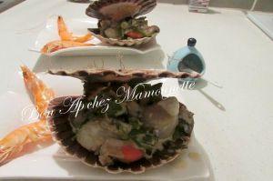 Recette Coquilles st Jacques au poireau champignons mascarpone, idée menu de la mer
