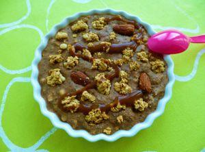 Recette Bowlcake hyperprotéiné brownie chocolat au muesli amande avoine + chia + whey (diététique, sans oeuf ni beurre, riche en fibres)