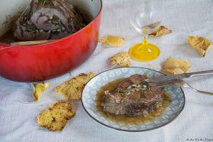 Recette Jarret de boeuf roulé, champignons et noix