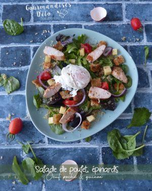 Recette Salade de poulet, épinards, œuf et quinoa