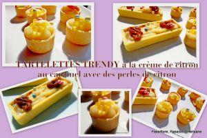Recette Tartelettes (trendy) rondes et rectangulaires à la crème Citron, caramel et perles de jus de citron