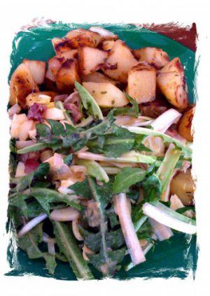 Recette Salade de pissenlit au lard et aux œufs
