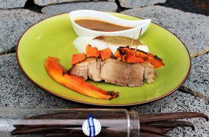 Recette Rouelle de Porc à la Vanille et à la Papaye Rôtie~Jus aromatique réduit à l'Orange