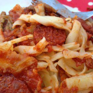 Recette Pâtes à l'aubergine, chorizo et sauce tomate