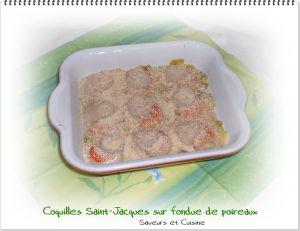 Recette Coquilles St-Jacques sur une fondue de poireaux, un régal