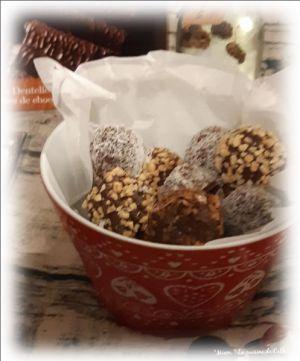 """Recette ღ """" Miam """" Truffes chocolat croustillantes aux crêpes dentelles"""