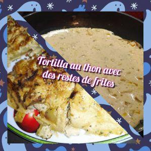 Recette Tortilla au thon et reste de frites