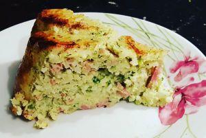 Recette Gâteau de riz aux courgettes et au jambon