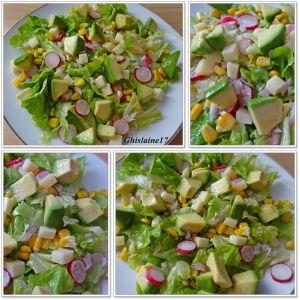 Recette Salade d'avocat, radis, maïs, comté, échalote