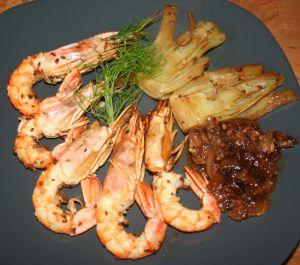 Recette Gambas ou grosses crevettes au fenouil