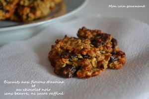 Recette Biscuits aux flocons d'avoine et au chocolat noir, sans beurre, ni sucre raffiné