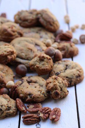 Recette Mes cookies chocolat/noisettes et noix de pécan