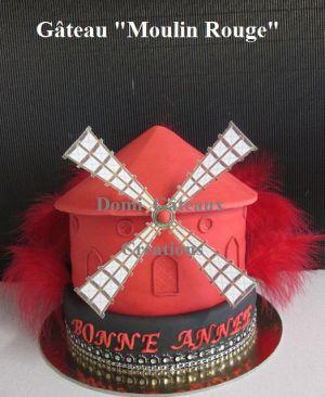 """Recette Gâteau """"Moulin Rouge"""" en Pâte à Sucre"""